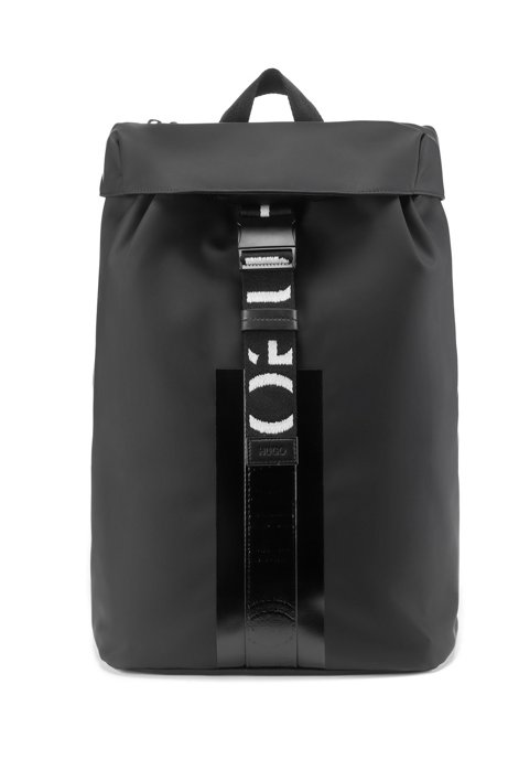 Matte-faux-leather backpack with reverse-logo trims, Black