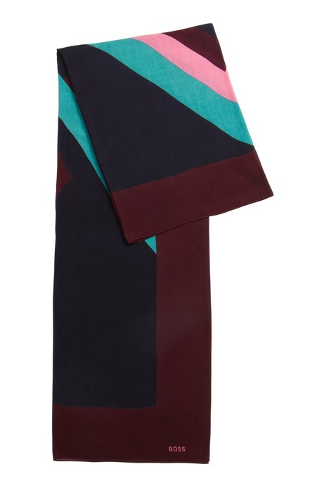 Argyle-print scarf in modal with silk, Patterned
