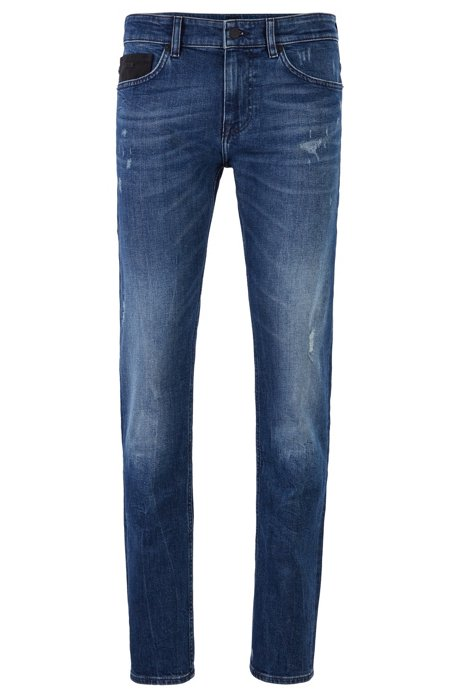 Slim-fit jeans in stretch denim with rubberised trimmings, Dark Blue