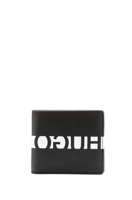 Portemonnee van gerubberd leer met gespiegeld logo, Zwart