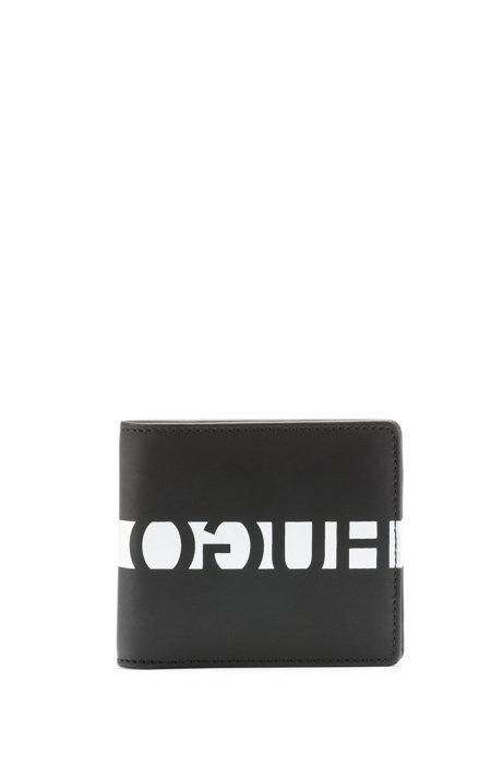 Portafoglio in pelle italiana gommata con logo reversed, Nero