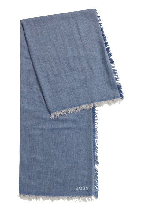 Melange twill scarf with placed logo, Blue