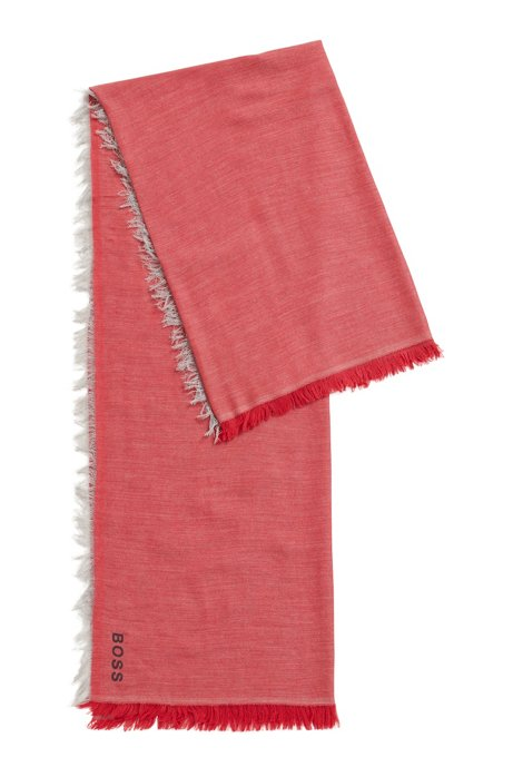 Melange twill scarf with placed logo, Red