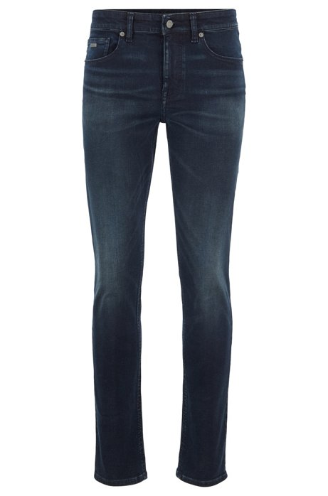 Slim-fit jeans in dark-blue grey-cast super-stretch denim, Dark Blue