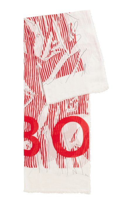 Abstract-print logo scarf in cotton with modal, Patterned