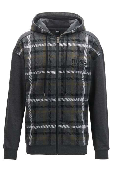Hooded loungewear jacket in checked French terry, Grey