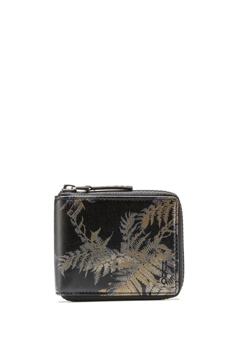 Zip-around wallet in leather with leaf print, Patterned
