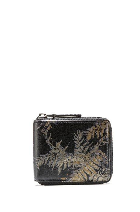 Geldbörse aus Leder mit Reißverschluss und Blätter-Print, Gemustert