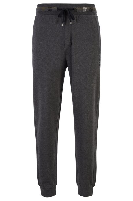 Drawstring loungewear trousers in French cotton terry, Grey