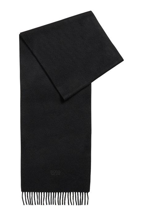 Italian-cashmere scarf with tonal logo embroidery, Black