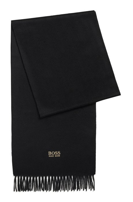 Scarf with fringed trim in Italian cashmere, Black
