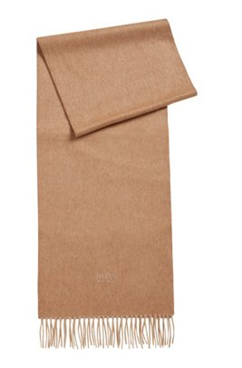 Scarf with fringed trim in Italian cashmere, Beige