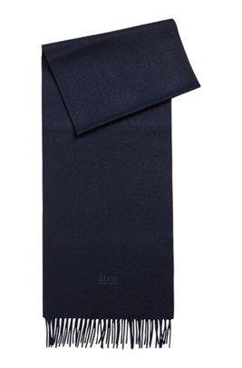 Scarf with fringed trim in Italian cashmere, Dark Blue