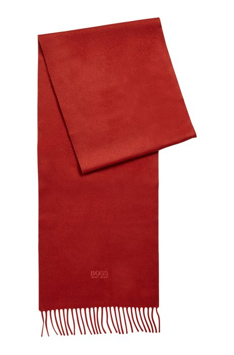 Sjaal van Italiaans kasjmier met franjes, Rood