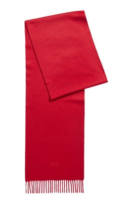 Scarf with fringed trim in Italian cashmere, Red