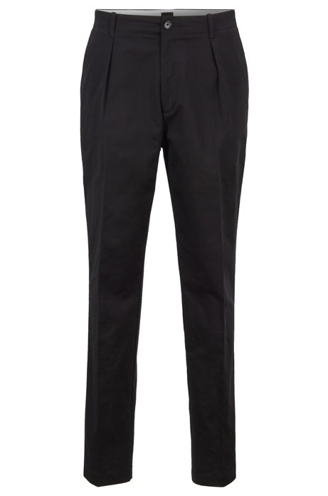 Pantalon Relaxed Fit en gabardine de coton stretch à haute torsion, Noir