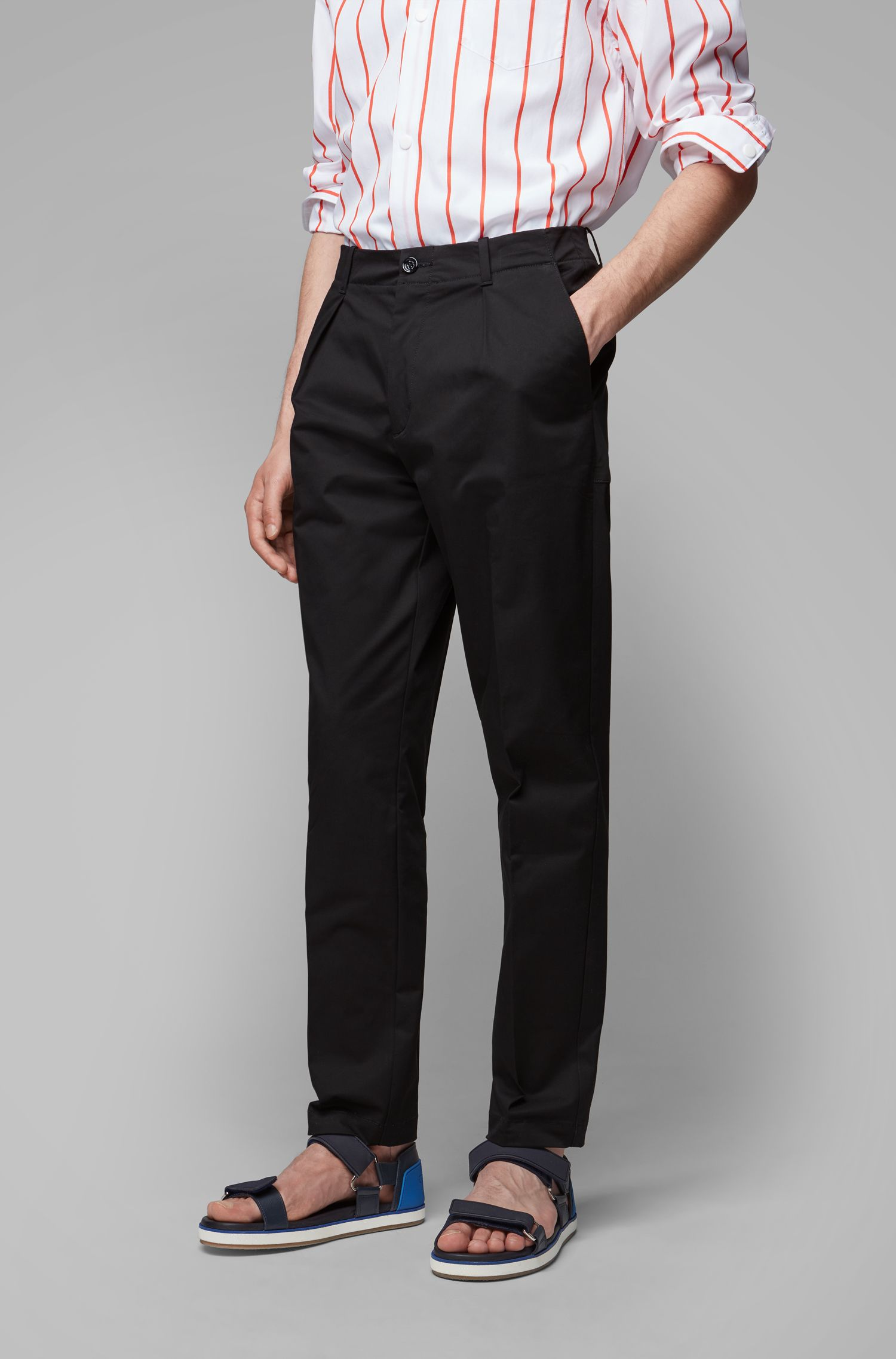 Relaxed-fit trousers in high-twist stretch-cotton gabardine, Black