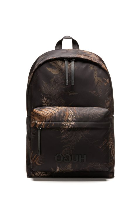 Reverse-logo backpack with seasonal leaf print, Patterned