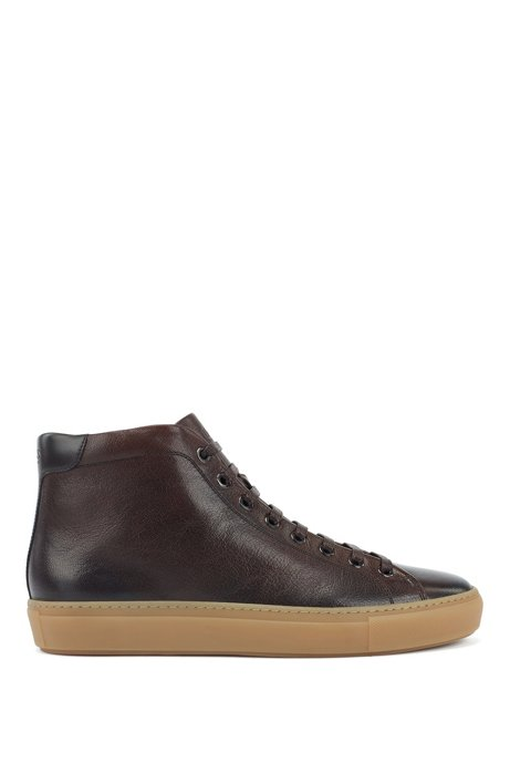 High-top trainers in grained leather with shearling lining, Dark Brown