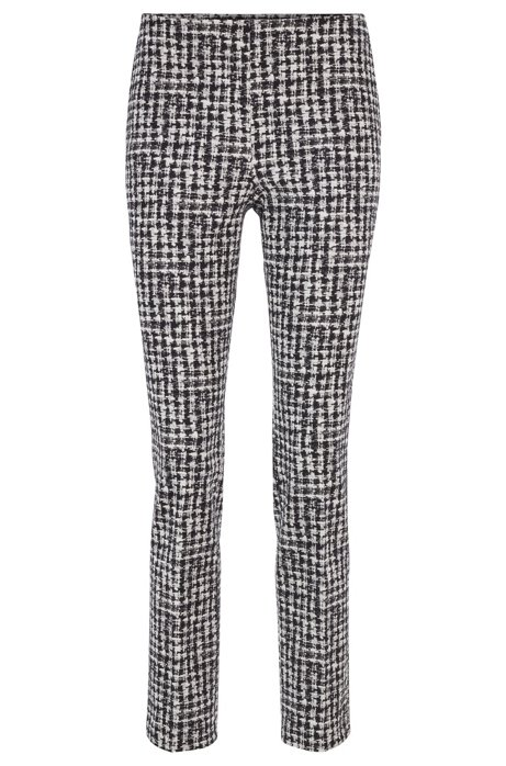 Regular-fit trousers in checked Italian stretch fabric, Patterned