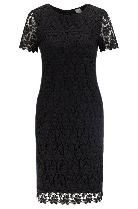 Fully lined lace shift dress with side stripe, Black