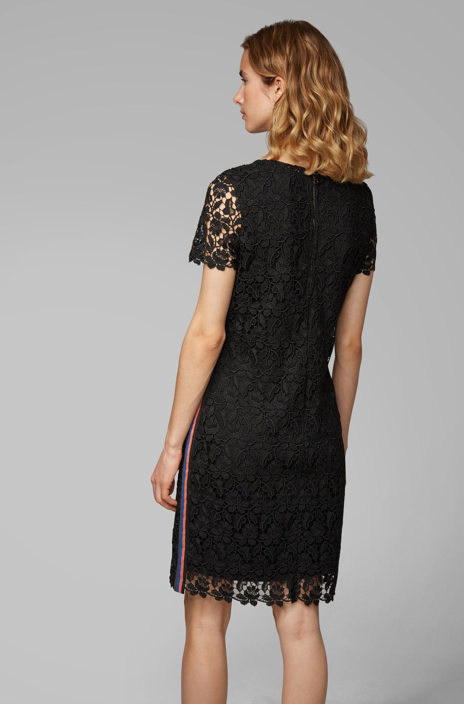 Robe droite en dentelle entièrement doublée avec ruban sur les côtés, Noir