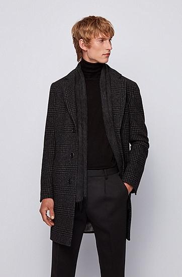 带滚边流苏和徽标的羊毛围巾 ,  001_黑色