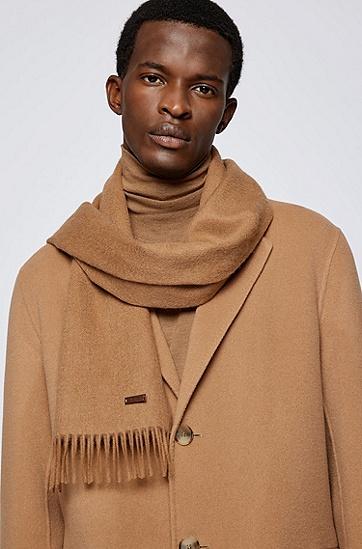 带滚边流苏和徽标的羊毛围巾,  262_Medium Beige