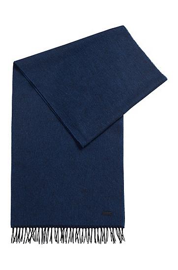 带滚边流苏和徽标的羊毛围巾 ,  402_暗蓝色