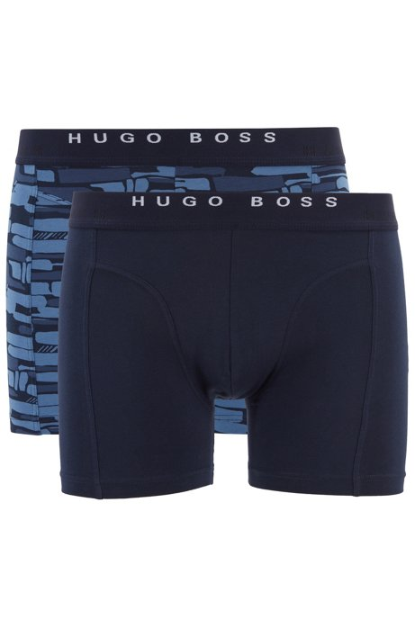 Two-pack of printed and plain boxer briefs in stretch cotton, Blue