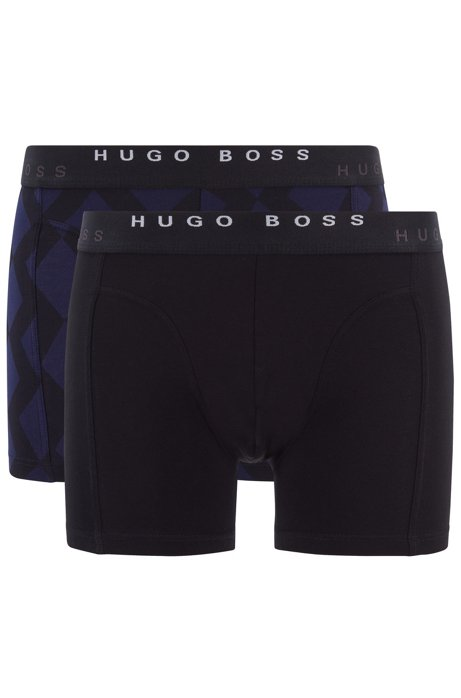 Two-pack of printed and plain boxer briefs in stretch cotton, Black