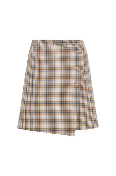 Button-front A-line skirt with a multi-coloured check, Patterned