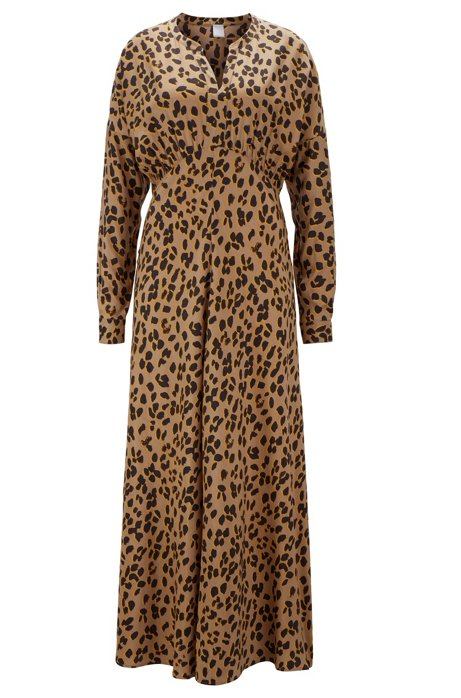 Leopard-print empire-waist maxi dress in twill with silk, Patterned