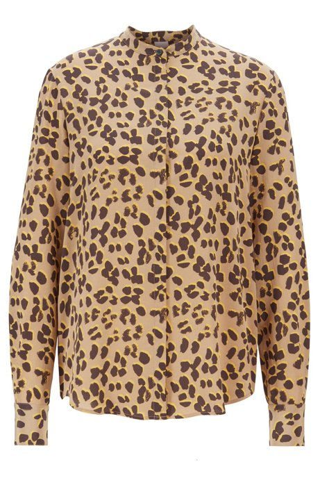 Relaxed-fit blouse in pure silk with animal print, Patterned
