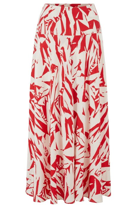 Silky A-line maxi skirt in broken graphic print, Patterned