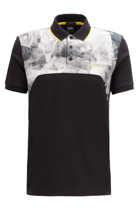 Luxury-cotton polo shirt with graphic-print panels, Black