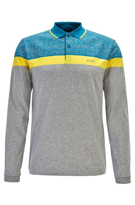 Colour-block polo shirt with printed seasonal pattern, Light Grey
