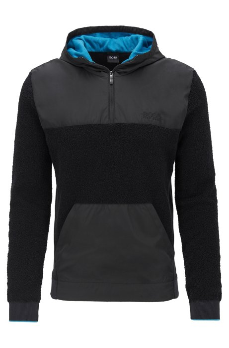 Hybrid hooded sweater in mixed fabrics, Black