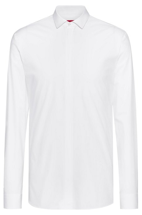 Extra-slim-fit stretch-cotton shirt with concealed zip, White