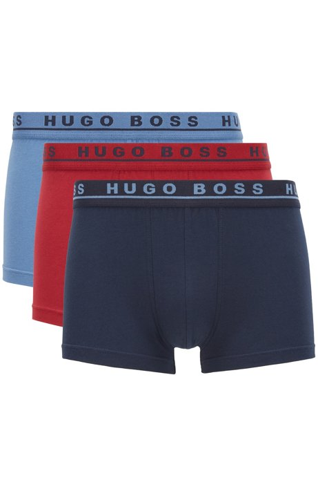 Three-pack of trunks with coloured logo waistbands, Patterned