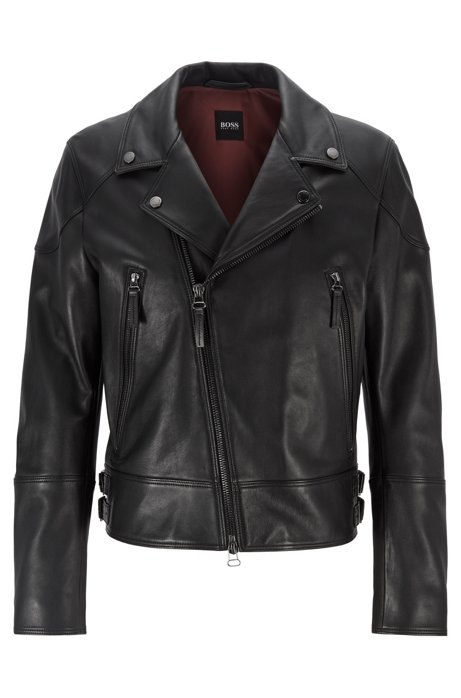Short-length biker jacket in nappa leather, Black