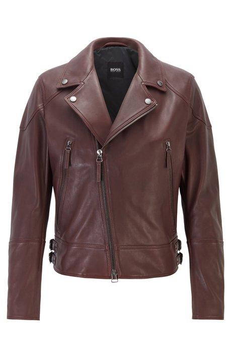 Short-length biker jacket in nappa leather, Dark Red