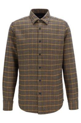 Regular-fit overhemd in een dubbellaags materiaal met pied-de-poule-ruitdessin, Bruin