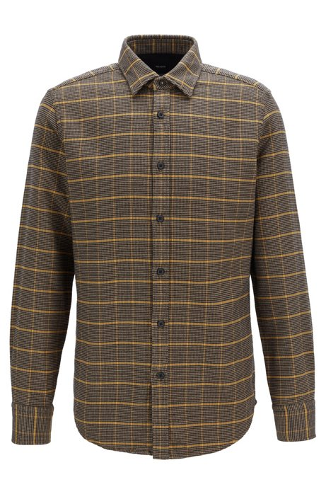 Regular-fit shirt in double-faced houndstooth check, Brown