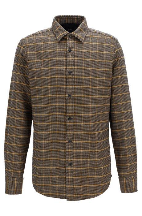 Regular-Fit Hemd aus zweiseitiger Baumwolle mit Hahnentritt-Karo, Braun