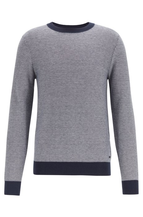Lightweight sweater in a cotton blend with contrast details, Dark Blue