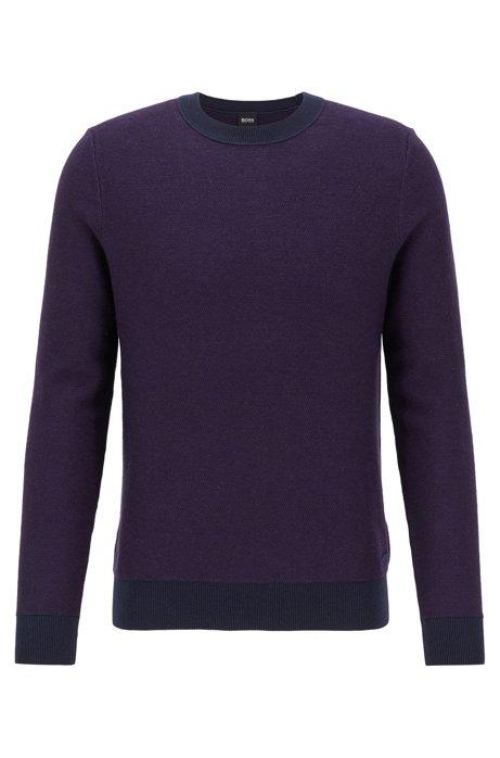 Lightweight sweater in a cotton blend with contrast details, Dark Purple