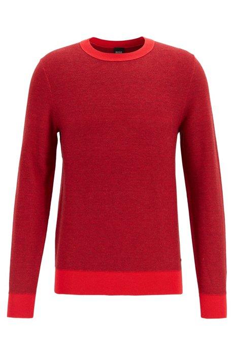 Leichter Pullover aus Baumwolle mit Wolle und Kontrasten, Rot