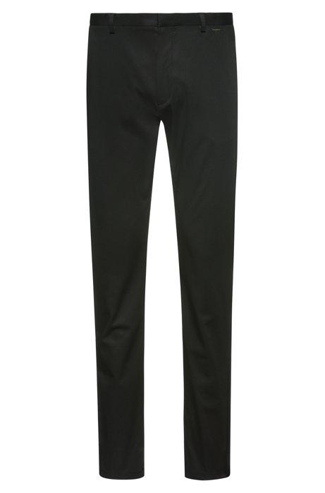 Slim-Fit Hose aus elastischem Baumwoll-Twill, Schwarz