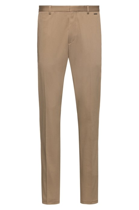 Slim-fit trousers in stretch-cotton twill, Beige